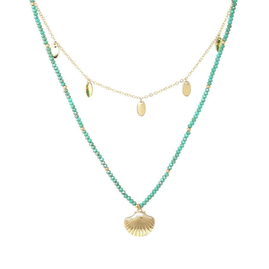 Shell Texture Pendant With Glass Beaded And Disc Dangle Layered Short Necklace