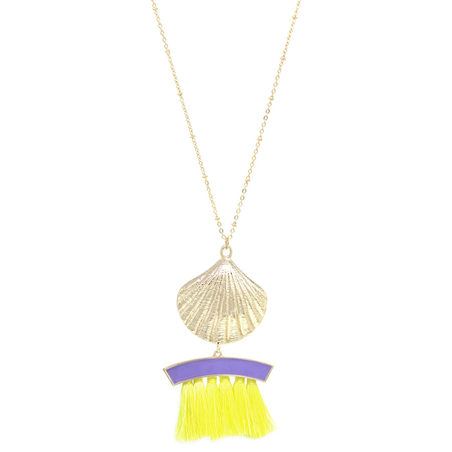 Shell Texture Metal With Tassel Fringe Pendant Long Necklace