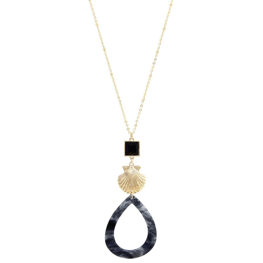 Shell Texture Metal Teardrop Acetate Hoop Pendant Long Necklace