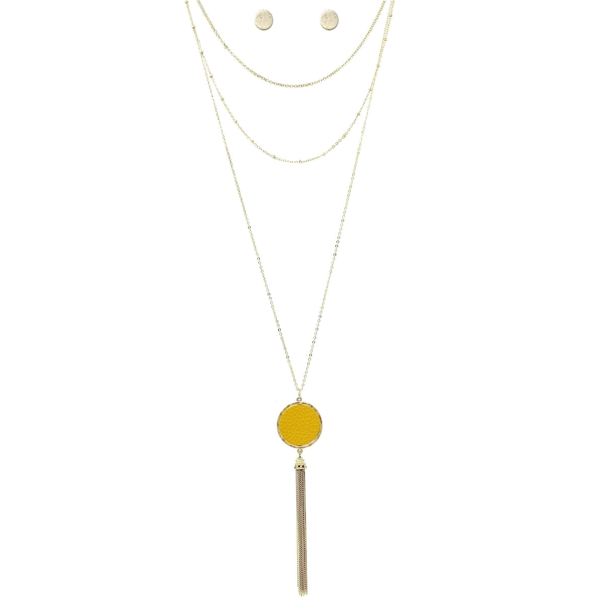 Leather Disc With Chain Tassel Pendant Chain Layered Necklace