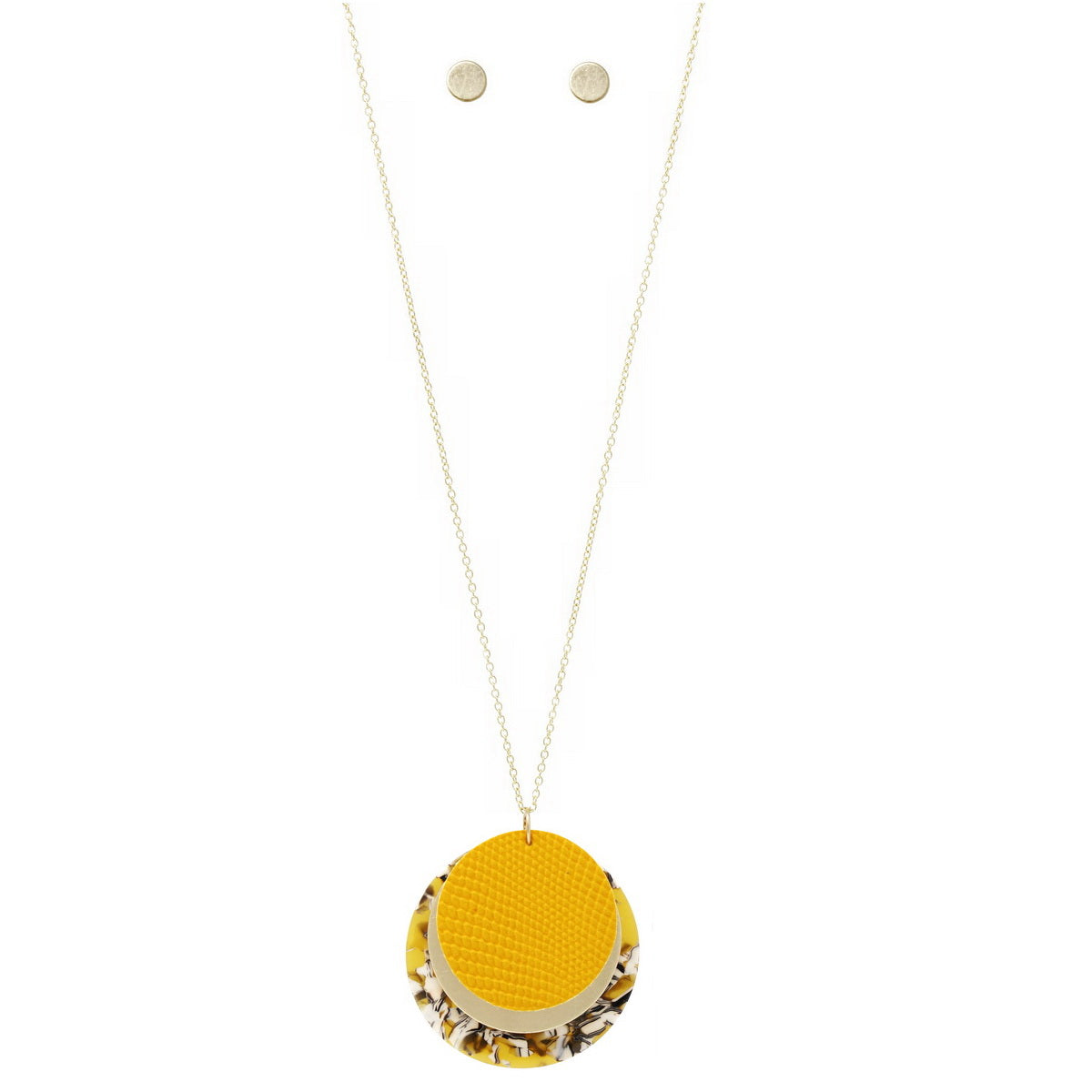 Acetate / Metal / Leather Disc Pendant Long Chain Necklace