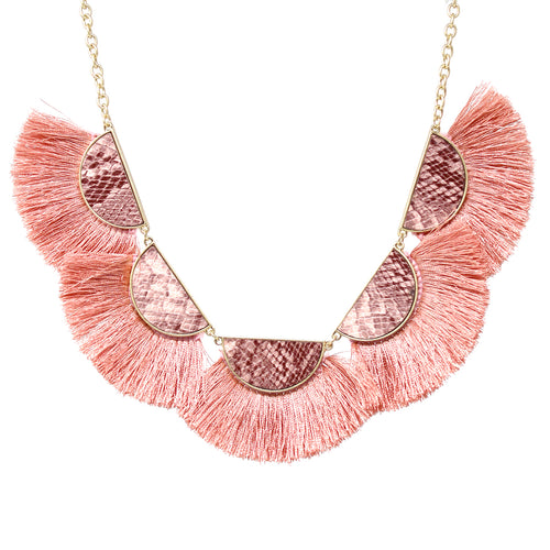 Snake Skin With Fan Shape Tassel Fringe Short Necklace