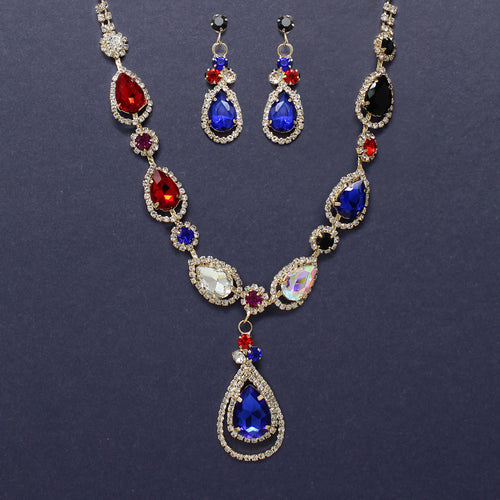 Rhinestone Pave Floral With Teardrop Stone Short Necklace Set