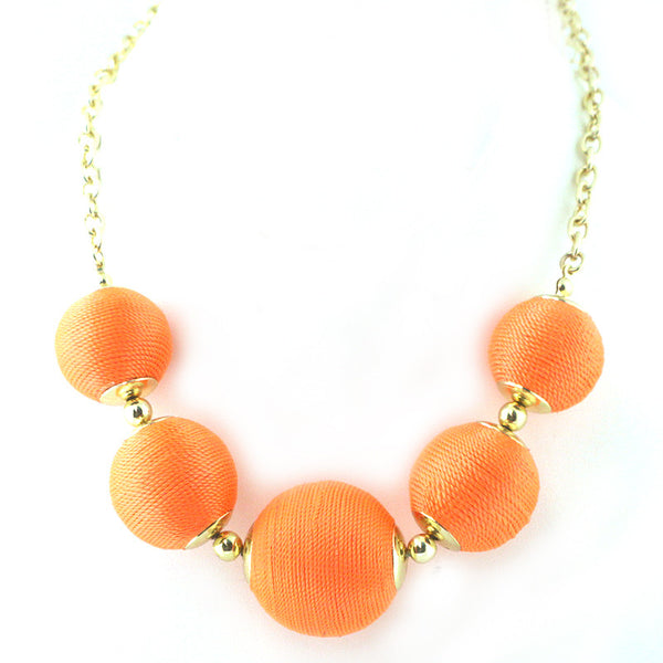 Thread Ball Statement Necklace