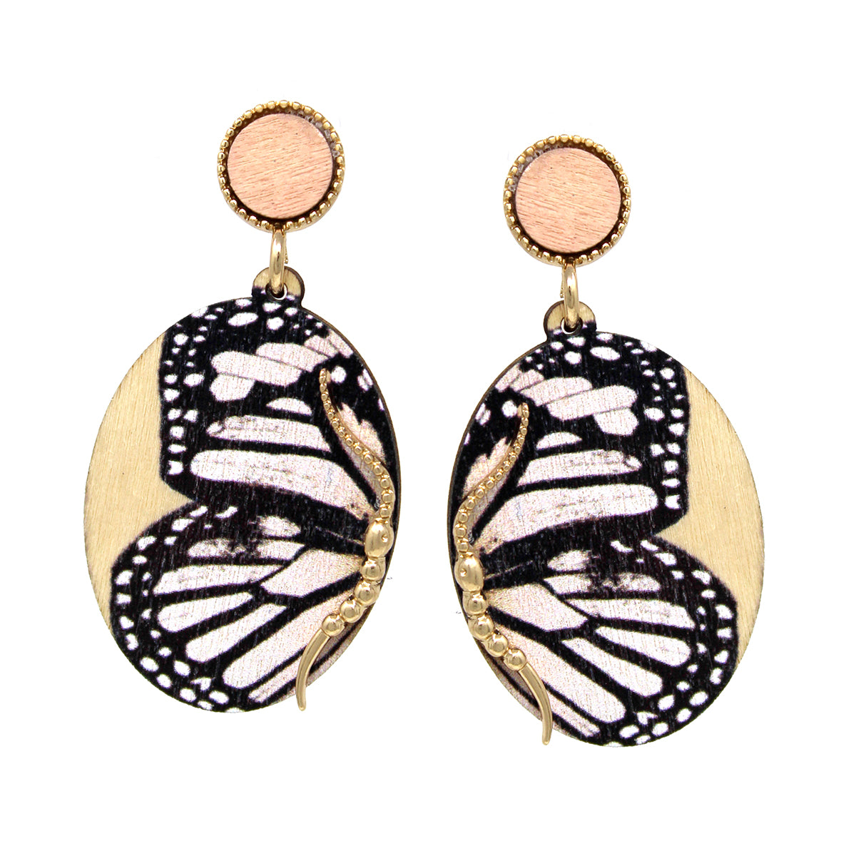 Butterfly Print Wood Drop Earrings