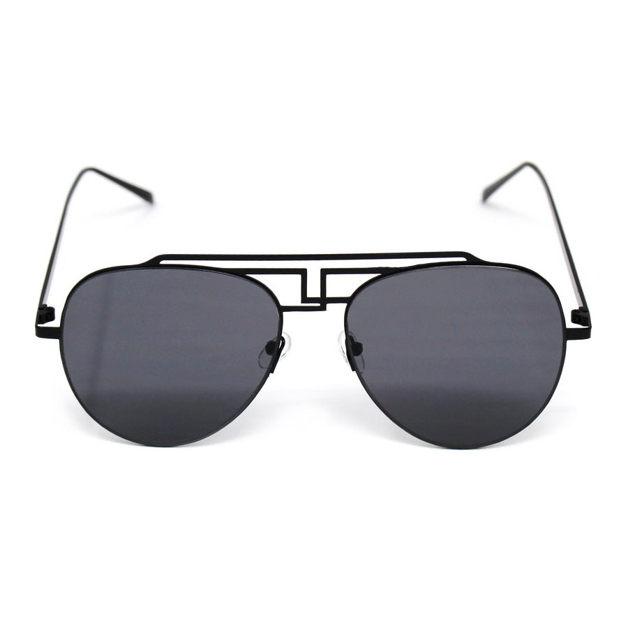 Geometric Cutout Metal Frame Fashion Sunglasses
