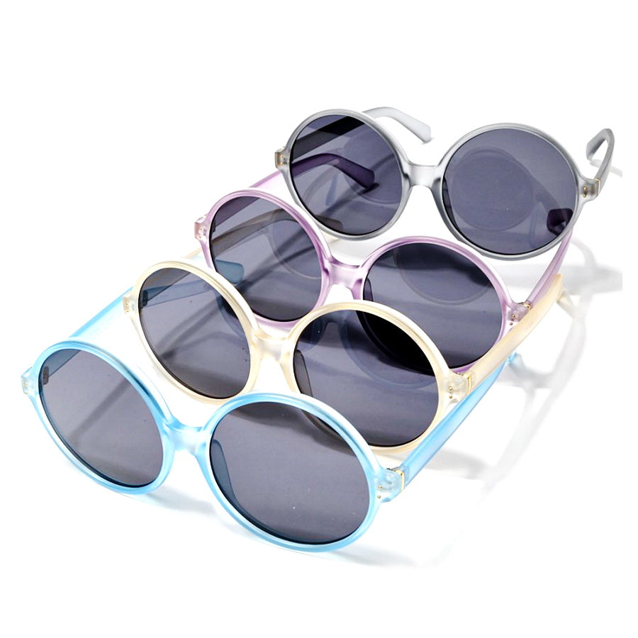 Colored Frame Oversized Round Sunglasses