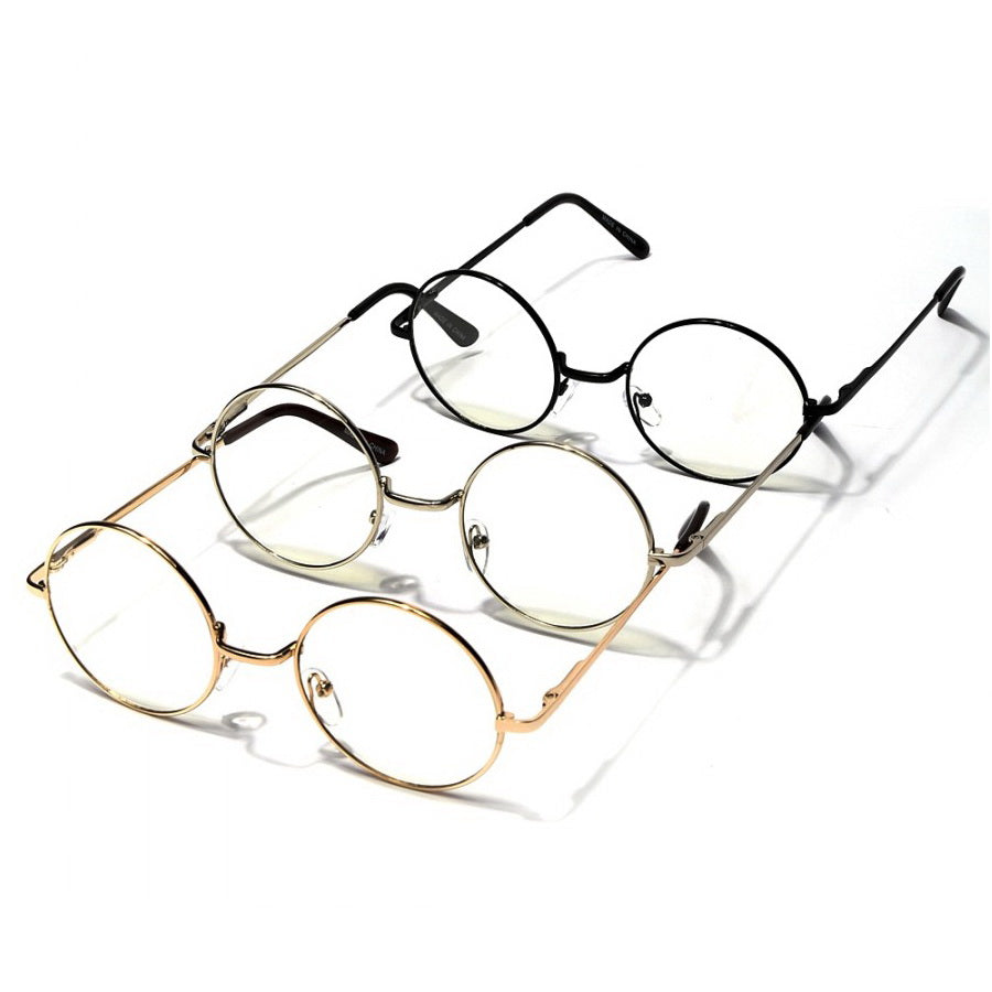 Round Metal Frame Fashion Glasses (12 pieces)