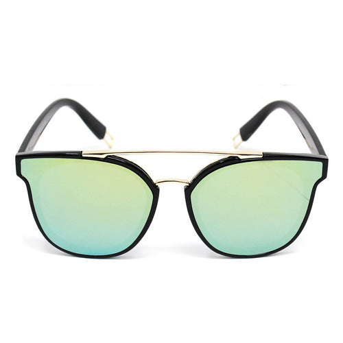 Cat Eye Mirrored Sunglasses With Top Metal Bar