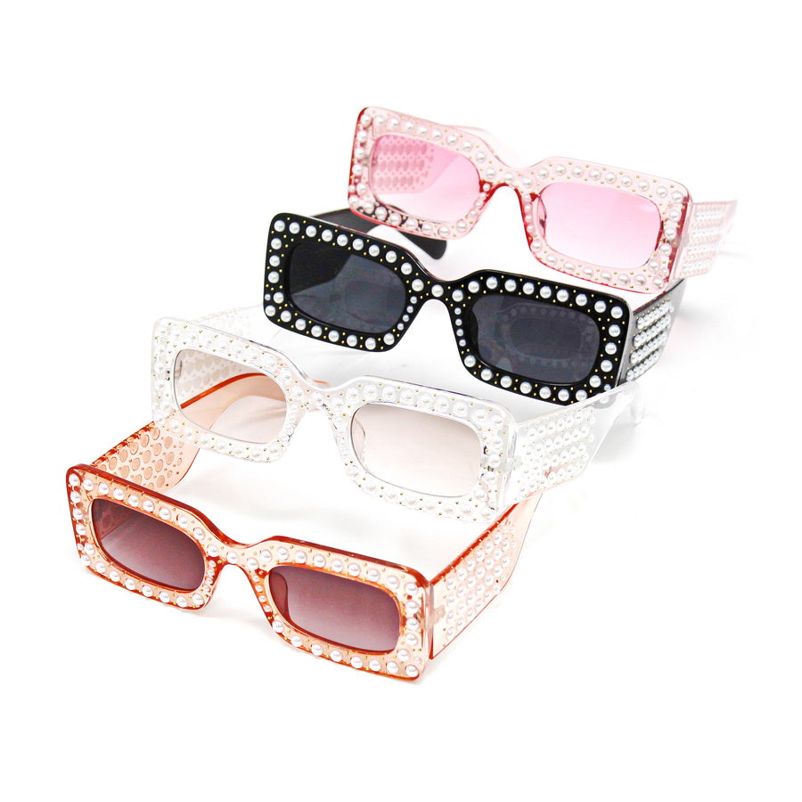 Pearl Embellished Rectangular Assorted Sunglasses (12 Pieces)