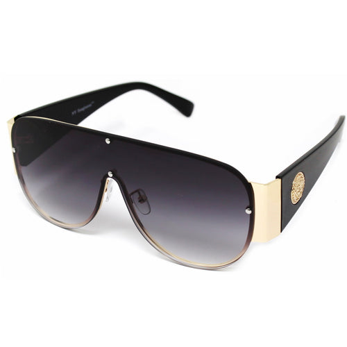 Metal Detail Rounded Shield Sunglasses