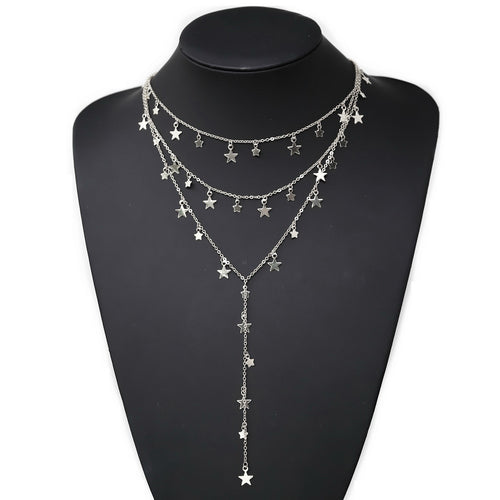 Mini Star Dangle Charm Layered Lariat Necklace