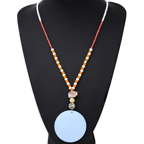 Wooden Disc Pendant Long Beaded Necklace