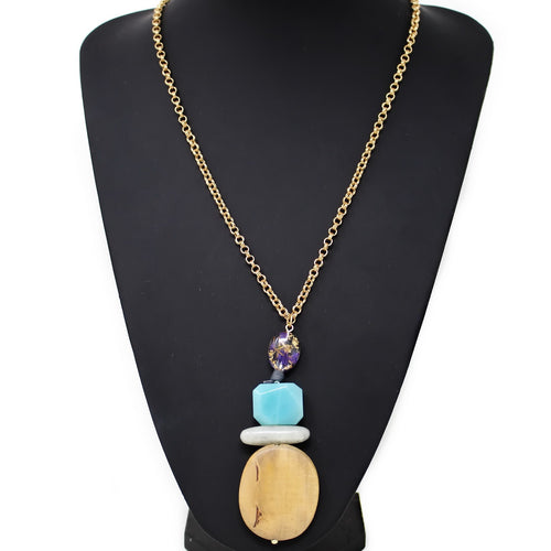 Natural Stone And Wood Geometric Pendant Long Chain Necklace
