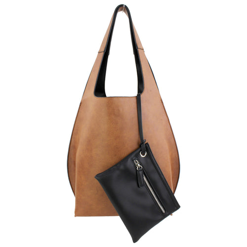 STREET LEVEL Vegan Leather Reversible Shoulder Bag With Pouch