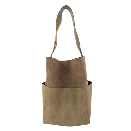 STREET LEVEL Wide Shoulder Strap Large Bucket Bag With Pouch Set