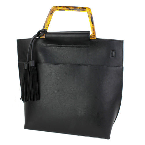 STREET LEVEL Modern Acetate Handle With Square Shape Vegan leather Tote Bag