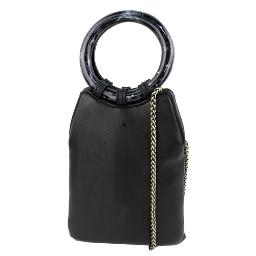 STREET LEVEL Acetate Hoop Handle Mini Tote Bag With Chain Strap