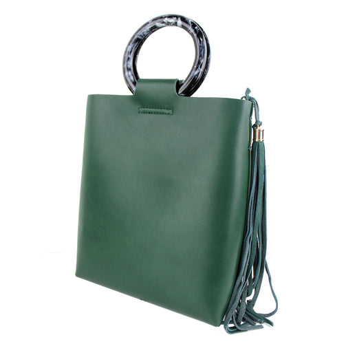 STREET LEVEL Modern Acetate Handle With Long Tassel Tote Bag