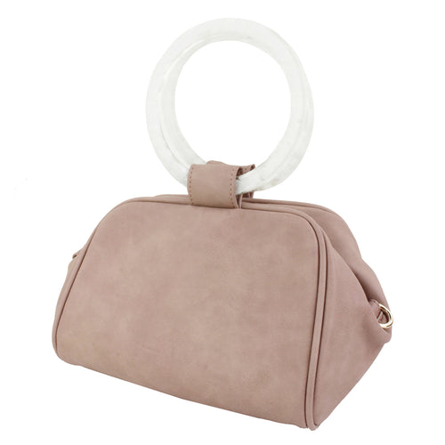 STREET LEVEL Acetate Hoop Handle Mini Tote Bag