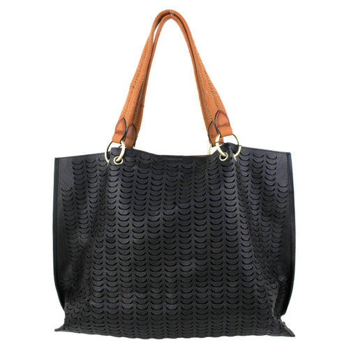 STREET LEVEL Perforated Tote With Braided Handle Bag