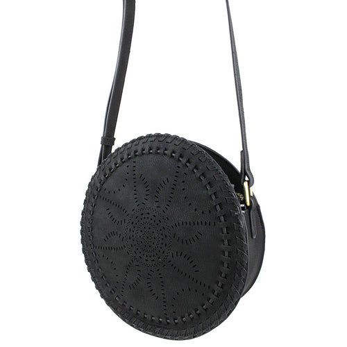 STREET LEVEL Laser Cutout Round Crossbody Bag