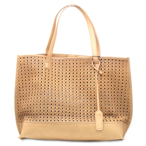 STREET LEVEL Weave Texture Perforated Big Tote Bag