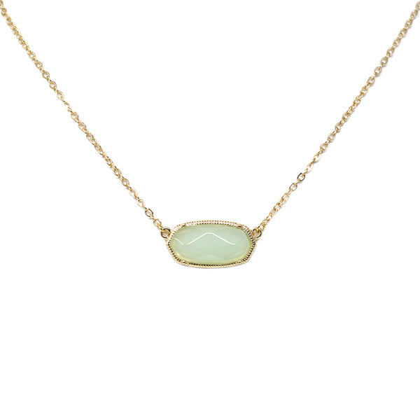 Semi-Precious Stone Oval Pendant Simple Chain Necklace