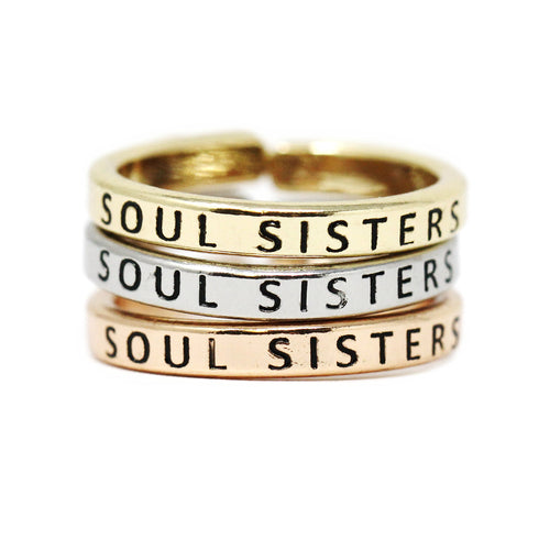 SOUL SISTERS  Inspirational Tri Tone Ring Set