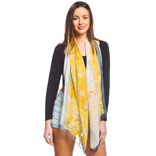 Silky Floral Print Oblong Scarf