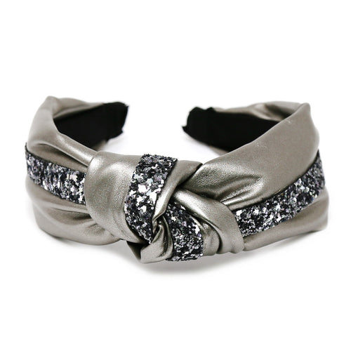 Glitter Front Knot Leather Headband