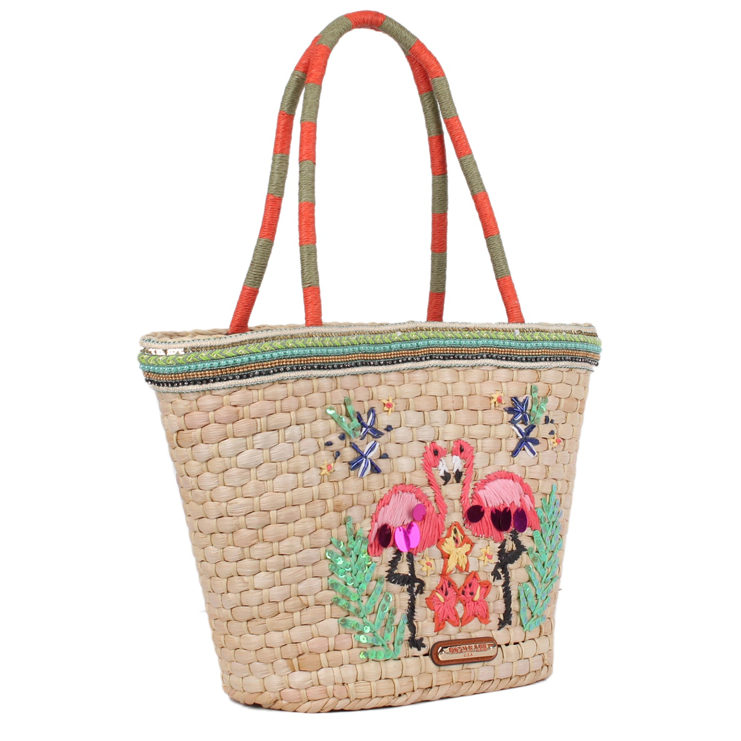 NATAYLA FLAMINGO STRAW SHOPPER BAG