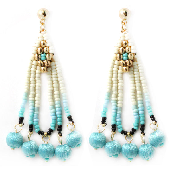 Thread Ball with Beads Tassel Earrings