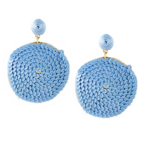 Sequin Disk Thread Ball Drop Earrings