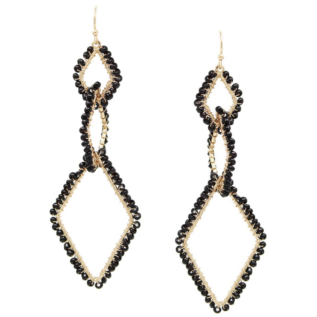 Seed Bead Wrapped Triple Rhombus Hoop Drop Earrings