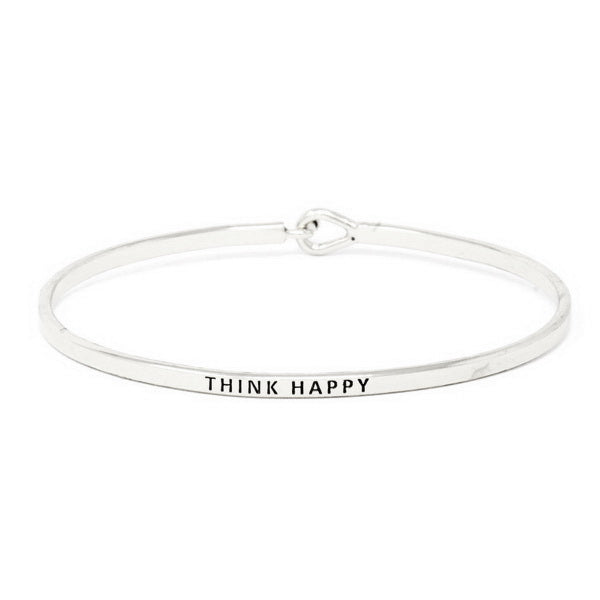 THINK HAPPY Inspirational Message Bracelet