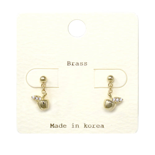 Cubic Zirconia Paved Apple Drop Earrings
