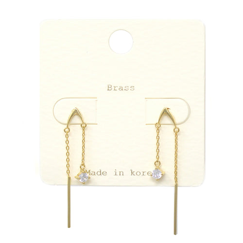 Cubic Zirconia With Bar Chain Drop Earrings