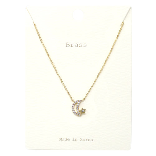 Cubic Zirconia Paved Moon Pendant Short Necklace