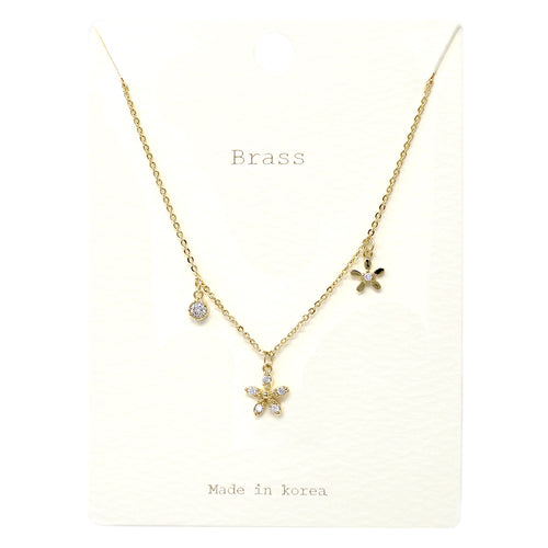 Cubic Zirconia Paved Flower Pendant Short Necklace
