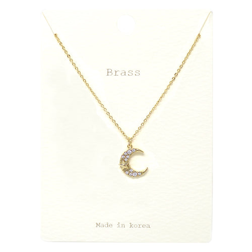 Cubic Zirconia Pave Crescent Moon Pendant Short Necklace