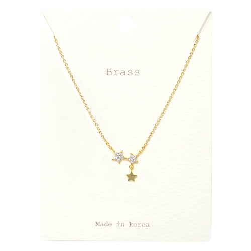 Cubic Zirconia Pave Star Pendant Short Necklace