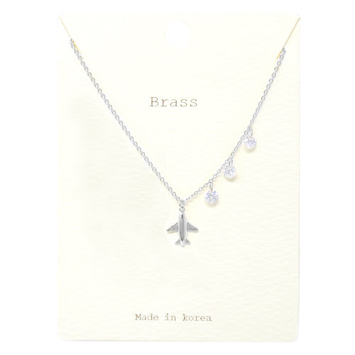 Airplane Pendant With Cubic Zirconia Dangle Short Necklace