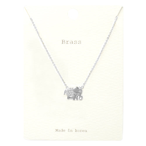 Cuibc Zirconia Pave Elephant Pendant Short Necklace