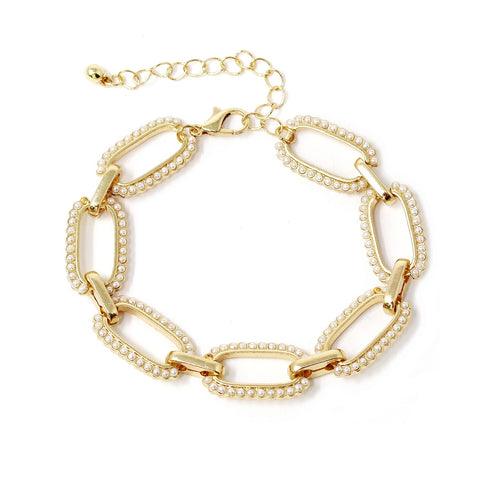 Pearl Beaded Linked Bracelet