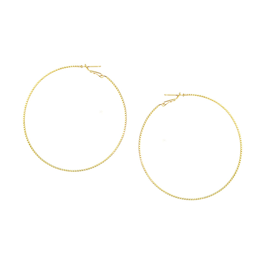Textured Thin Brass Wire Hoop Earrings (50 mm)