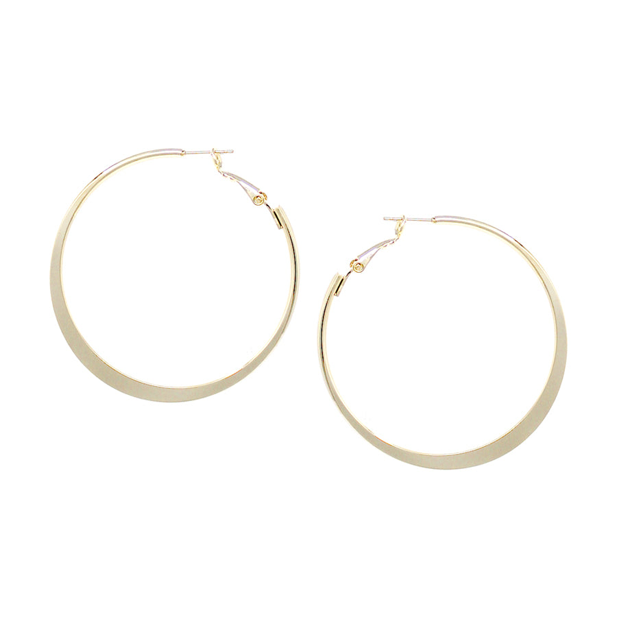 Plain Flattened Brass Hoop Earrings (50 mm)