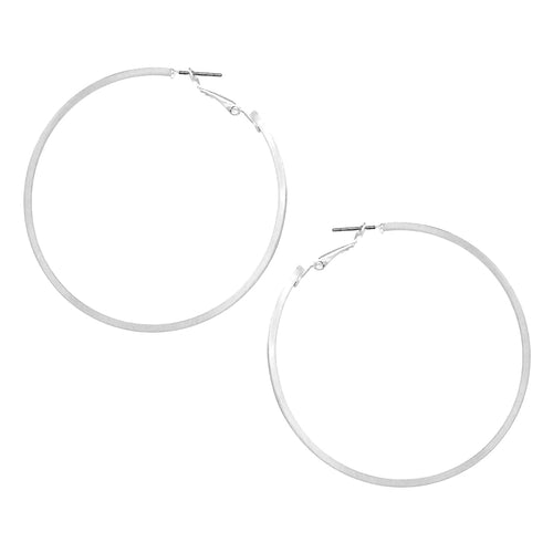 Squared Edge Brass Hoop Earrings (70 mm)