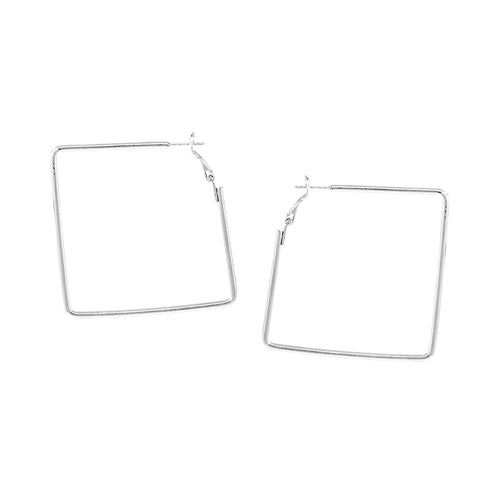 Square Shape Brass Hoop Earrings (40 mm)
