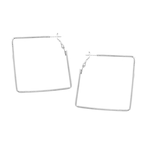 Square Shape Brass Hoop Earrings (50 mm)